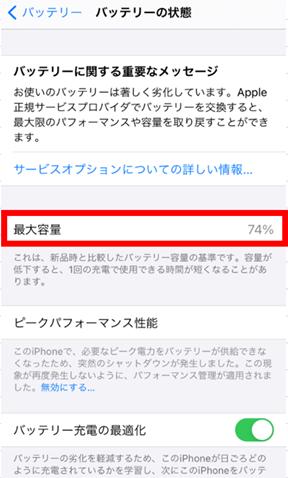 iPhoneのバッテリー容量チェックの仕方|バッテリー交換の目安